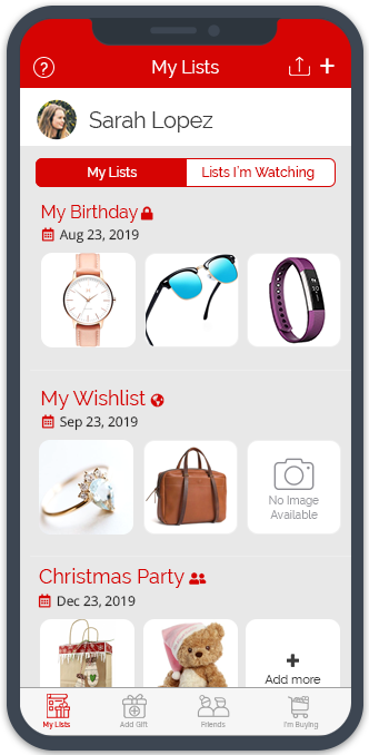 Multiple wishlists. Great gift planner app for all occasions — Christmas, weddings, birthdays, etc.