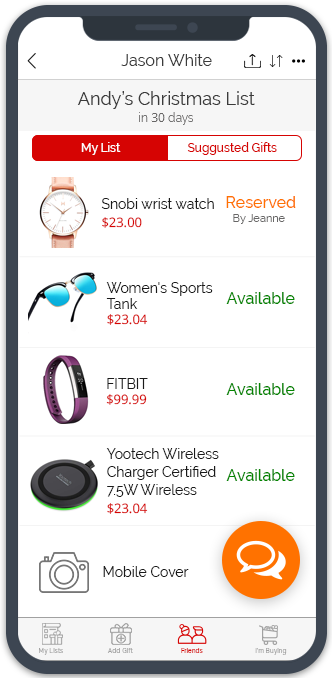 GiftList allows you to keep track of gifts you plan to buy or have bought for others